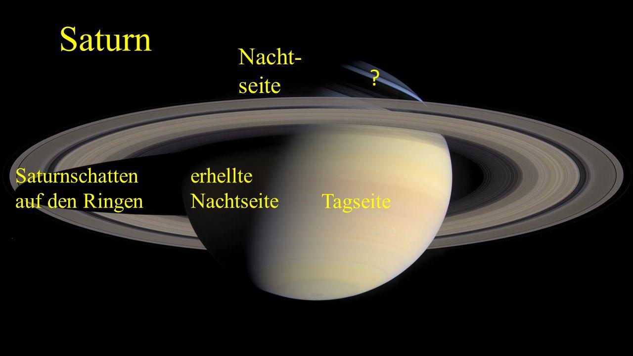 Das Ringsystem (2) - 1610 von Galilei entdeckt, wegen des schwachen Fernrohres als Henkel gedeutet - besteht aus Eis und Gesteinsbrocken - 7000 km bis 960000 km vom Saturn entfernt - Umfasst ca.