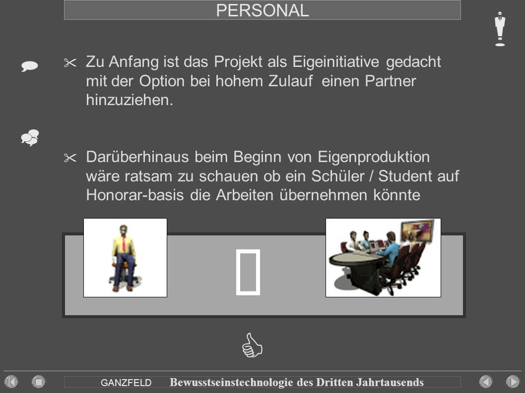 PERSONAL  Zu Anfang ist das Projekt als Eigeinitiative gedacht mit der Option bei hohem Zulauf einen Partner hinzuziehen.