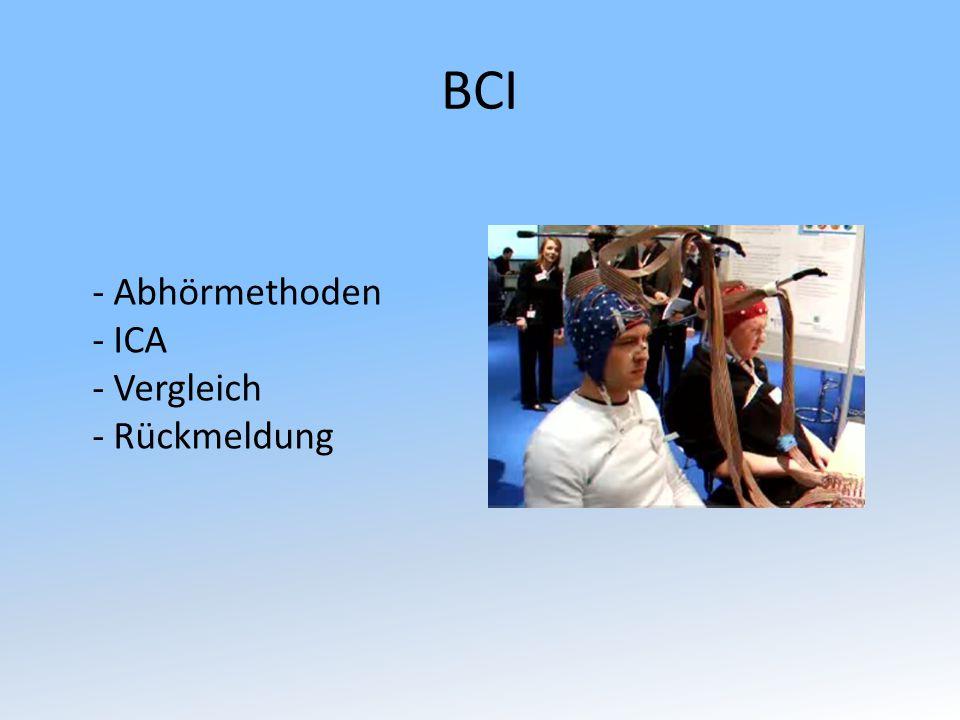 BCI - Abhörmethoden - ICA - Vergleich - Rückmeldung
