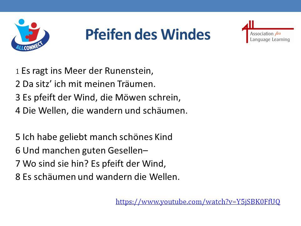 Pfeifen des Windes 1 Es ragt ins Meer der Runenstein, 2 Da sitz' ich mit meinen Träumen.