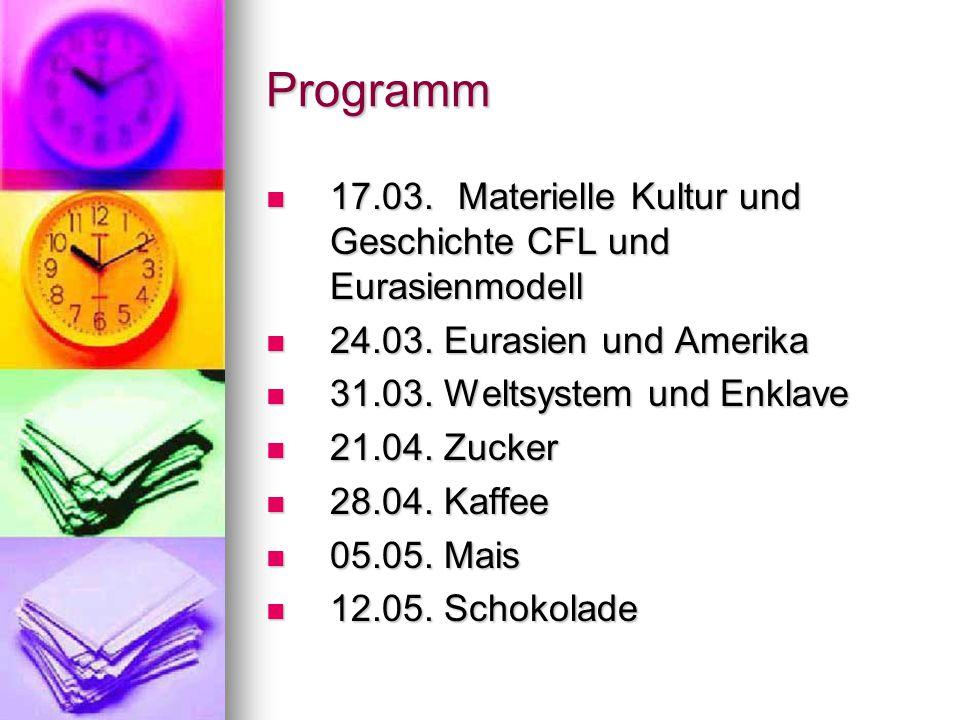 Programm 17.03. Materielle Kultur und Geschichte CFL und Eurasienmodell 17.03.