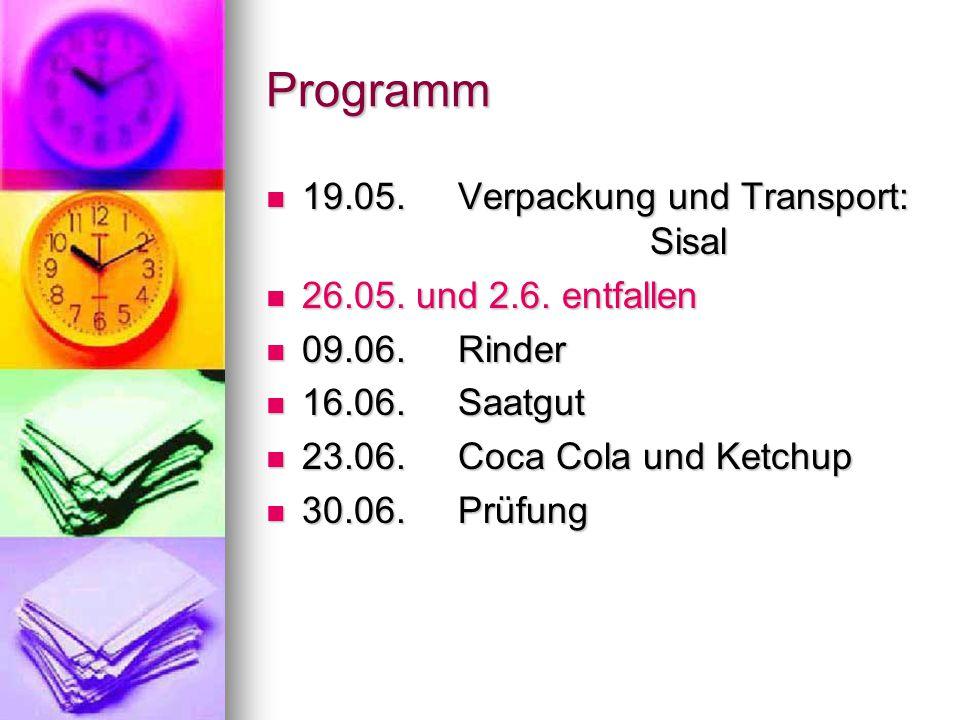 Programm 19.05. Verpackung und Transport: Sisal 19.05.