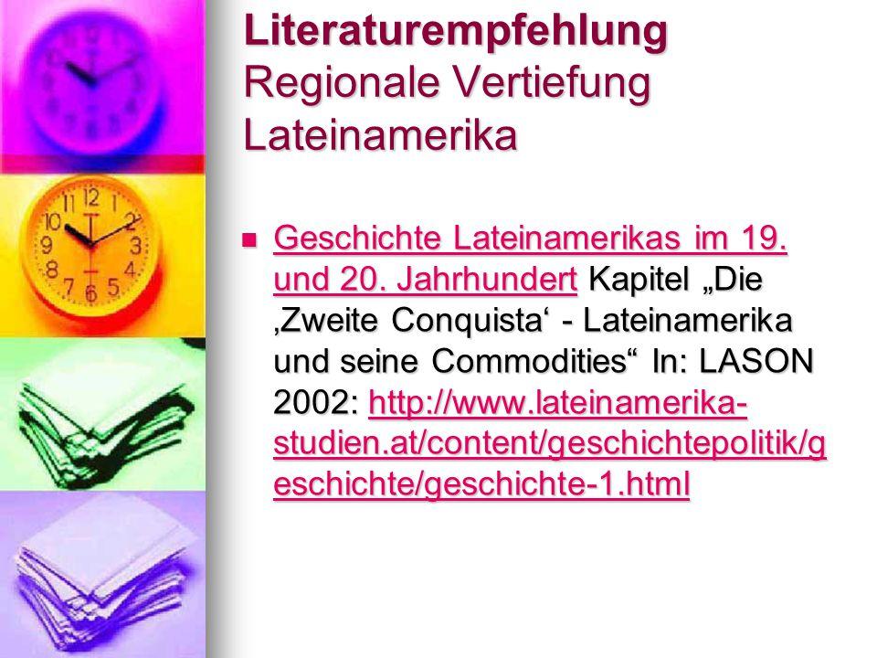 Literaturempfehlung Regionale Vertiefung Lateinamerika Geschichte Lateinamerikas im 19.