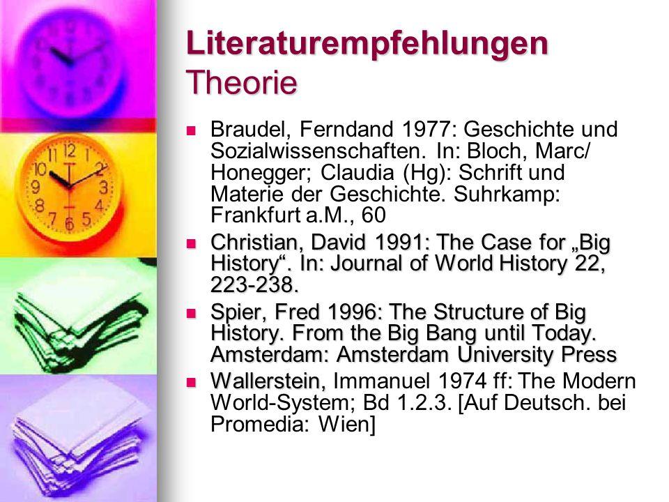 Literaturempfehlungen Theorie Braudel, Ferndand 1977: Geschichte und Sozialwissenschaften.