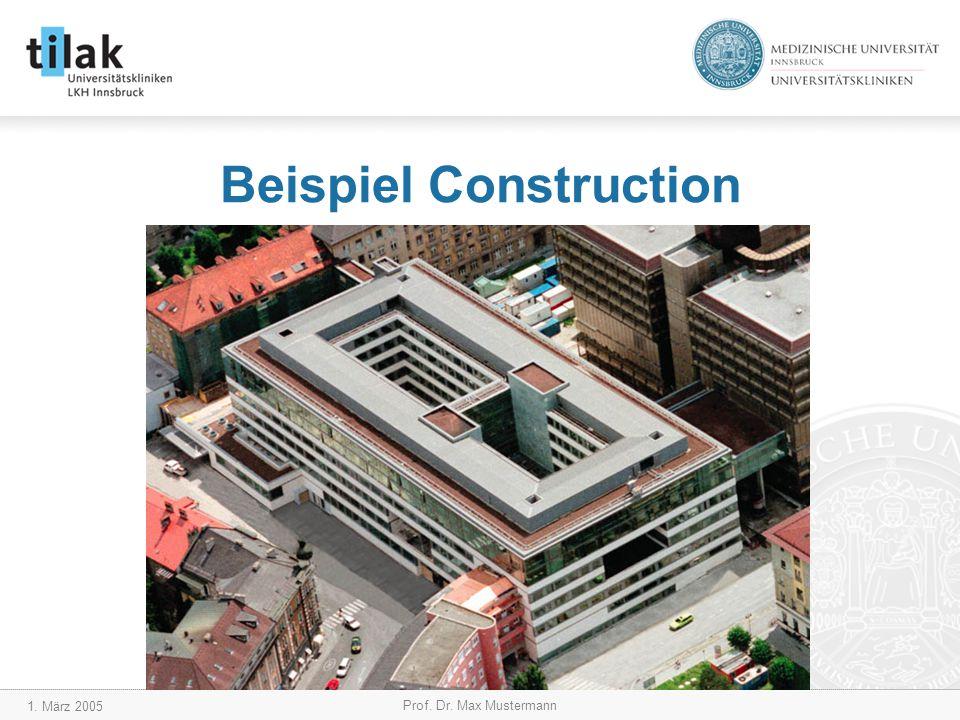 1. März 2005 Prof. Dr. Max Mustermann Beispiel Construction