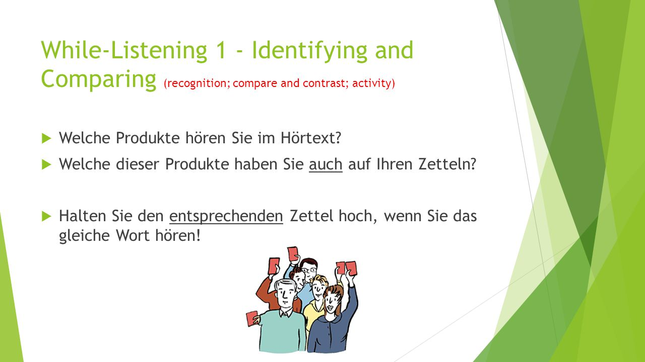 While-Listening 1 - Identifying and Comparing (recognition; compare and contrast; activity)  Welche Produkte hören Sie im Hörtext?  Welche dieser Pr