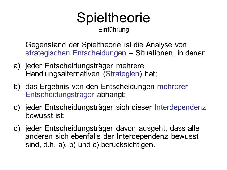 EINFÜHRUNG IN DIE SPIELTHEORIE Law & Economics: