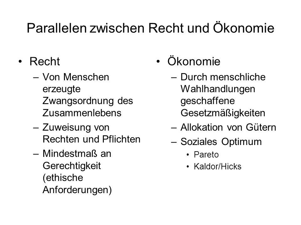 """Ökonomie des Haftungsrechts Mögliche Haftungssysteme (bilateral) –No liability Schädiger wählt zu geringe Sorgfalt x, daher """"übertreibt Geschädigter Vorsichtsmaßnahmen y."""