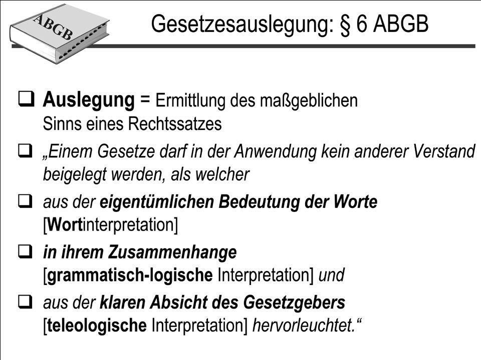 Interpretationsmethoden Wortbedeutung –Restriktiv/extensiv –Beachtung der Grammatik Systematische –Kein Widerspruch zu höherrangigen Normen Objektiv-teleologisch –Welches Ziel verfolgt die Bestimmung.