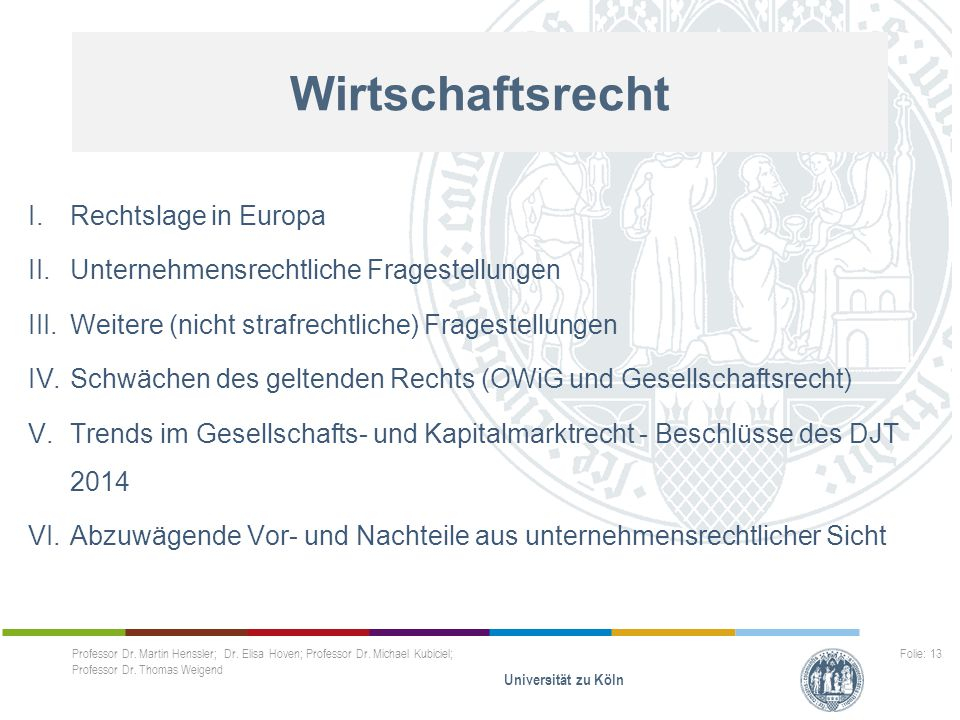Wirtschaftsrecht I.Rechtslage in Europa II.Unternehmensrechtliche Fragestellungen III.Weitere (nicht strafrechtliche) Fragestellungen IV.Schwächen des