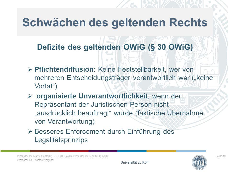 Schwächen des geltenden Rechts Defizite des geltenden OWiG (§ 30 OWiG)  Pflichtendiffusion: Keine Feststellbarkeit, wer von mehreren Entscheidungsträ
