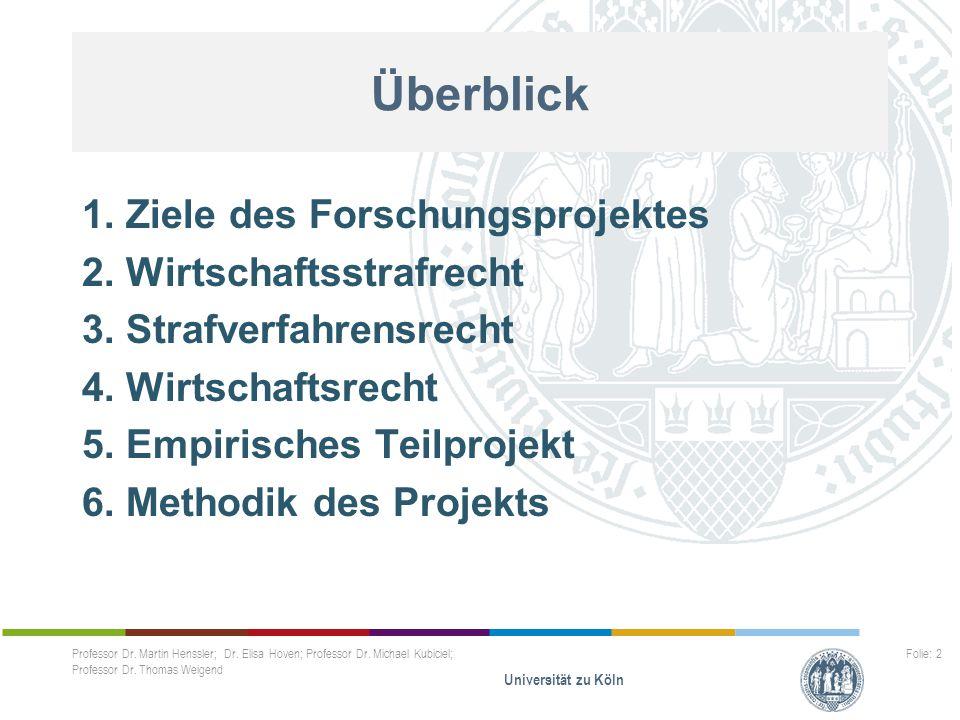 Professor Dr. Martin Henssler; Dr. Elisa Hoven; Professor Dr. Michael Kubiciel; Professor Dr. Thomas Weigend Universität zu Köln Folie: 2 Überblick 1.