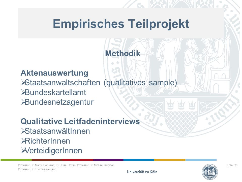 Empirisches Teilprojekt Professor Dr. Martin Henssler; Dr. Elisa Hoven; Professor Dr. Michael Kubiciel; Professor Dr. Thomas Weigend Universität zu Kö