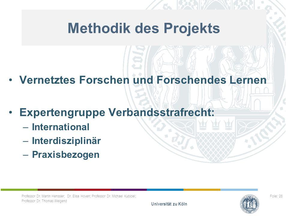 Methodik des Projekts Vernetztes Forschen und Forschendes Lernen Expertengruppe Verbandsstrafrecht: –International –Interdisziplinär –Praxisbezogen Pr