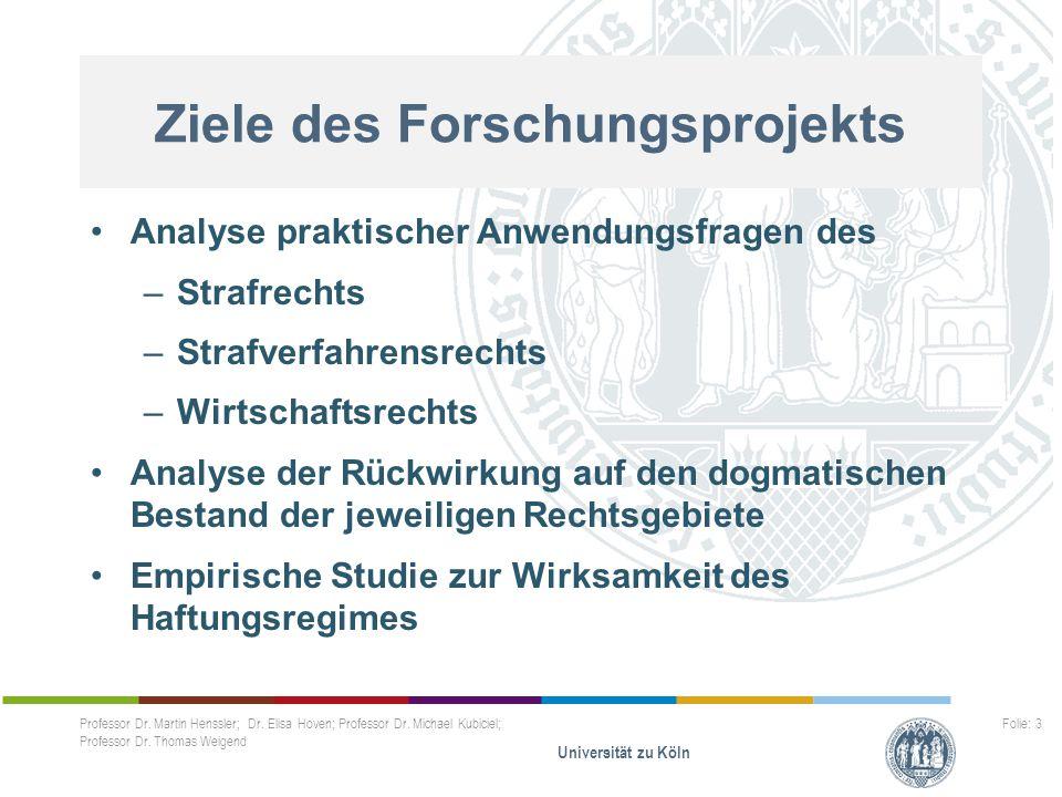 Professor Dr. Martin Henssler; Dr. Elisa Hoven; Professor Dr. Michael Kubiciel; Professor Dr. Thomas Weigend Universität zu Köln Folie: 3..... Analyse