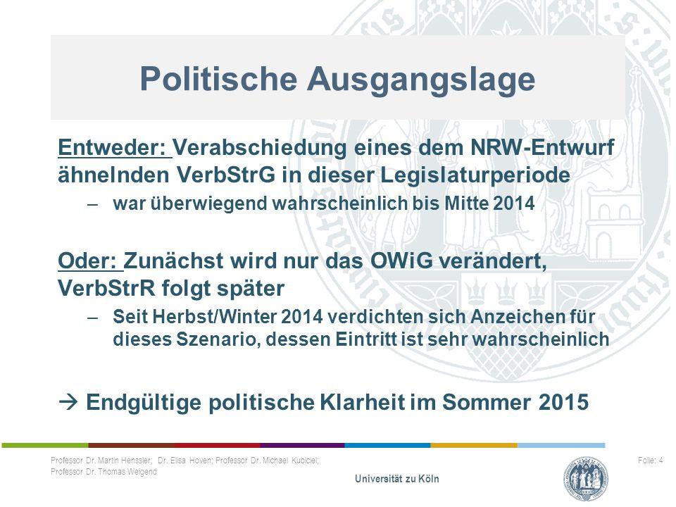 Professor Dr. Martin Henssler; Dr. Elisa Hoven; Professor Dr. Michael Kubiciel; Professor Dr. Thomas Weigend Universität zu Köln Folie: 4..... Entwede