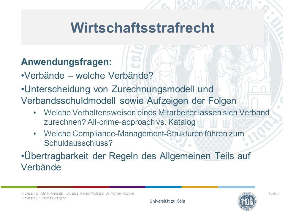 Wirtschaftsstrafrecht Anwendungsfragen: Verbände – welche Verbände? Unterscheidung von Zurechnungsmodell und Verbandsschuldmodell sowie Aufzeigen der