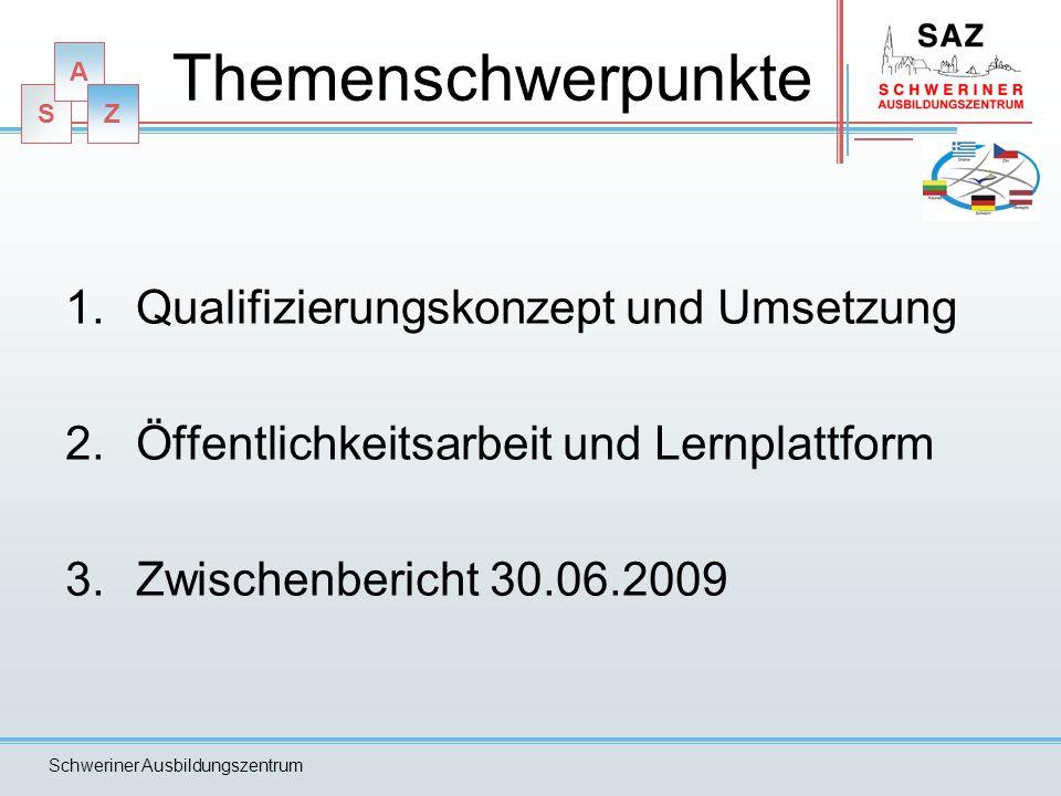 S A Z Schweriner Ausbildungszentrum Themenschwerpunkte 1.Qualifizierungskonzept und Umsetzung 2.Öffentlichkeitsarbeit und Lernplattform 3.Zwischenbericht 30.06.2009