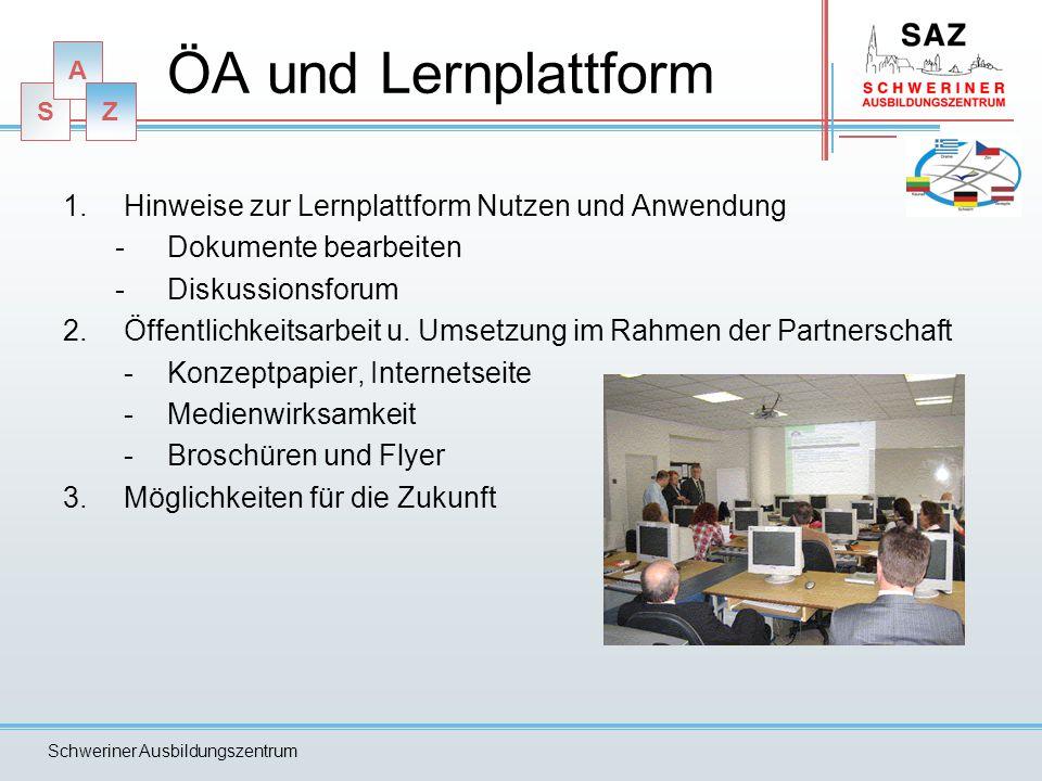 S A Z Schweriner Ausbildungszentrum ZWISCHENBERICHT -Terminvorgabe: 30.06.2009 -Zuarbeit durch Partner -Grundlage sind die beiden Arbeitstreffen mit Ergebnissen Vorgabe: Der Bericht wird aus der Sicht des SAZ geschildert und geschrieben.