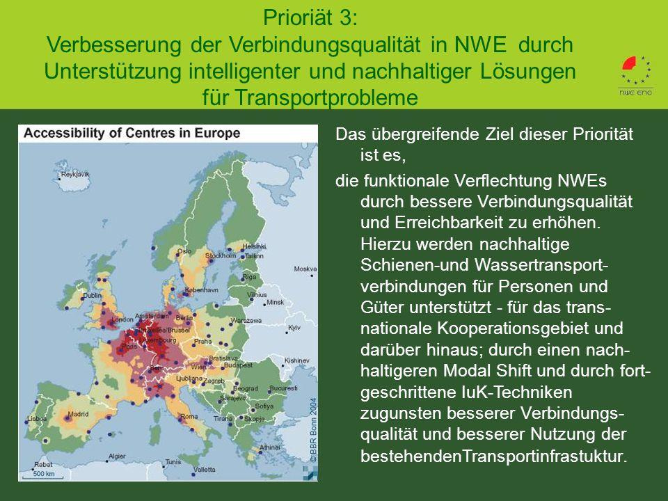 Prioriät 3: Verbesserung der Verbindungsqualität in NWE durch Unterstützung intelligenter und nachhaltiger Lösungen für Transportprobleme Das übergreifende Ziel dieser Priorität ist es, die funktionale Verflechtung NWEs durch bessere Verbindungsqualität und Erreichbarkeit zu erhöhen.