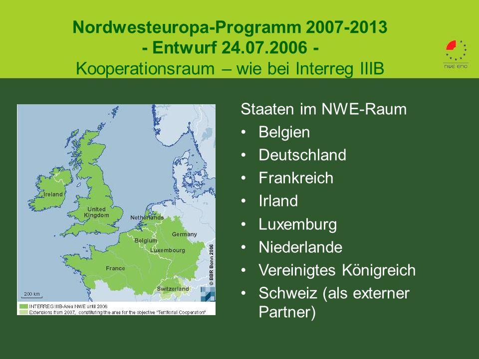 Nordwesteuropa-Programm 2007-2013 - Entwurf 24.07.2006 - Kooperationsraum – wie bei Interreg IIIB Staaten im NWE-Raum Belgien Deutschland Frankreich Irland Luxemburg Niederlande Vereinigtes Königreich Schweiz (als externer Partner)