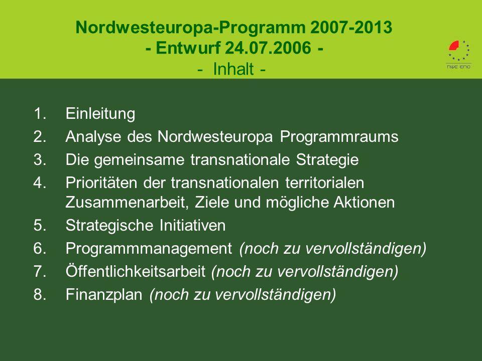 1.Einleitung 2.Analyse des Nordwesteuropa Programmraums 3.Die gemeinsame transnationale Strategie 4.Prioritäten der transnationalen territorialen Zusammenarbeit, Ziele und mögliche Aktionen 5.Strategische Initiativen 6.Programmmanagement (noch zu vervollständigen) 7.Öffentlichkeitsarbeit (noch zu vervollständigen) 8.Finanzplan (noch zu vervollständigen) Nordwesteuropa-Programm 2007-2013 - Entwurf 24.07.2006 - - Inhalt -