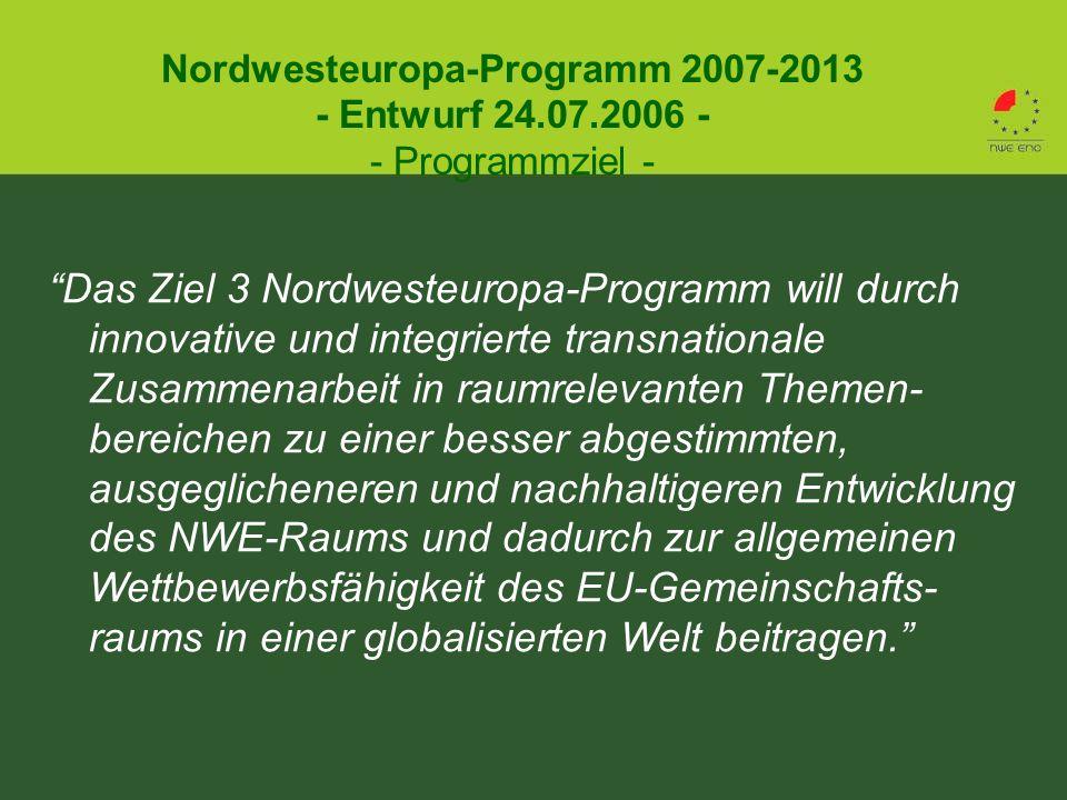 Das Ziel 3 Nordwesteuropa-Programm will durch innovative und integrierte transnationale Zusammenarbeit in raumrelevanten Themen- bereichen zu einer besser abgestimmten, ausgeglicheneren und nachhaltigeren Entwicklung des NWE-Raums und dadurch zur allgemeinen Wettbewerbsfähigkeit des EU-Gemeinschafts- raums in einer globalisierten Welt beitragen. Nordwesteuropa-Programm 2007-2013 - Entwurf 24.07.2006 - - Programmziel -