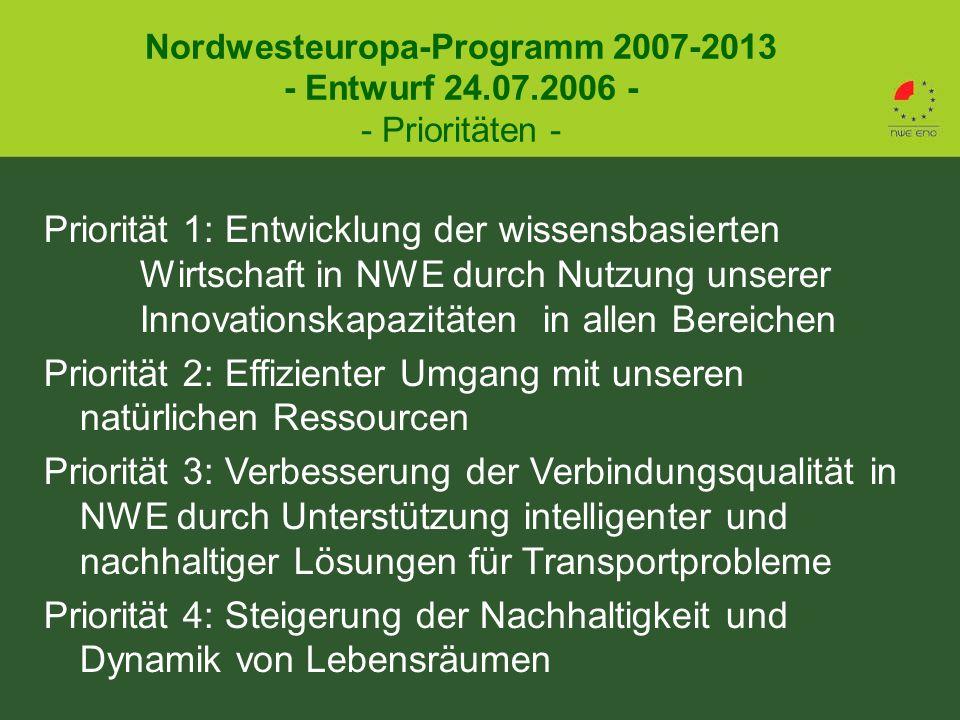 Priorität 1: Entwicklung der wissensbasierten Wirtschaft in NWE durch Nutzung unserer Innovationskapazitäten in allen Bereichen Priorität 2: Effizienter Umgang mit unseren natürlichen Ressourcen Priorität 3: Verbesserung der Verbindungsqualität in NWE durch Unterstützung intelligenter und nachhaltiger Lösungen für Transportprobleme Priorität 4: Steigerung der Nachhaltigkeit und Dynamik von Lebensräumen Nordwesteuropa-Programm 2007-2013 - Entwurf 24.07.2006 - - Prioritäten -