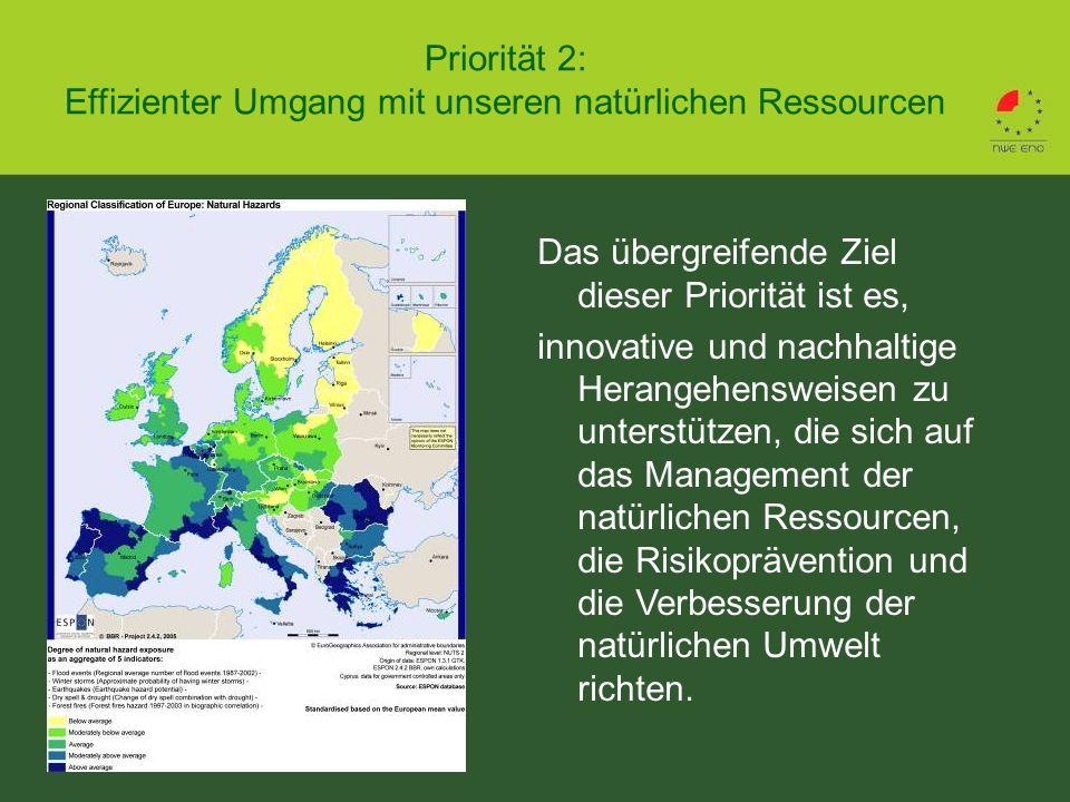 Priorität 2: Effizienter Umgang mit unseren natürlichen Ressourcen Das übergreifende Ziel dieser Priorität ist es, innovative und nachhaltige Herangehensweisen zu unterstützen, die sich auf das Management der natürlichen Ressourcen, die Risikoprävention und die Verbesserung der natürlichen Umwelt richten.