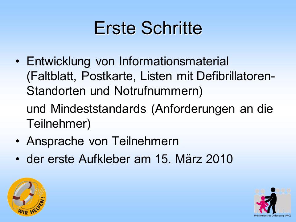 Erste Schritte Entwicklung von Informationsmaterial (Faltblatt, Postkarte, Listen mit Defibrillatoren- Standorten und Notrufnummern) und Mindeststanda