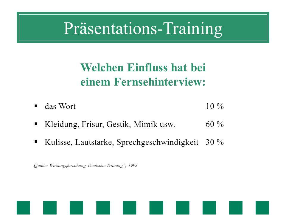 Präsentations-Training Welchen Einfluss hat bei einem Fernsehinterview:  das Wort10 %  Kleidung, Frisur, Gestik, Mimik usw.60 %  Kulisse, Lautstärke, Sprechgeschwindigkeit 30 % Quelle: Wirkungsforschung Deutsche Training , 1993