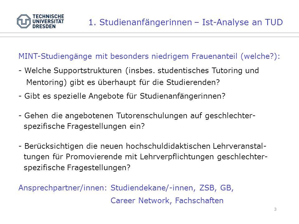 3 MINT-Studiengänge mit besonders niedrigem Frauenanteil (welche ): - Welche Supportstrukturen (insbes.