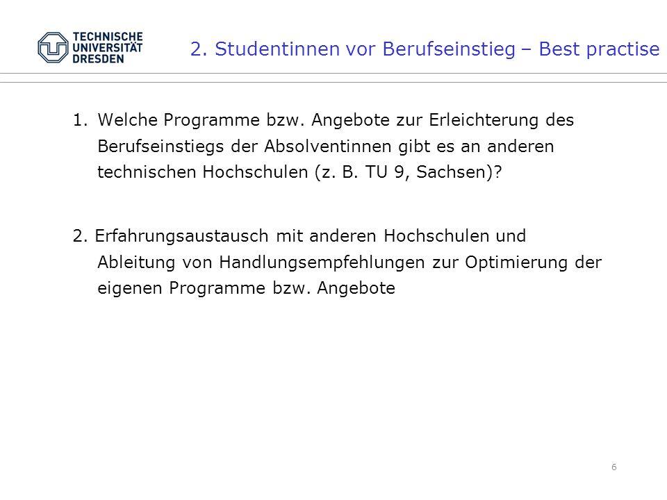 6 2. Studentinnen vor Berufseinstieg – Best practise 1.Welche Programme bzw.