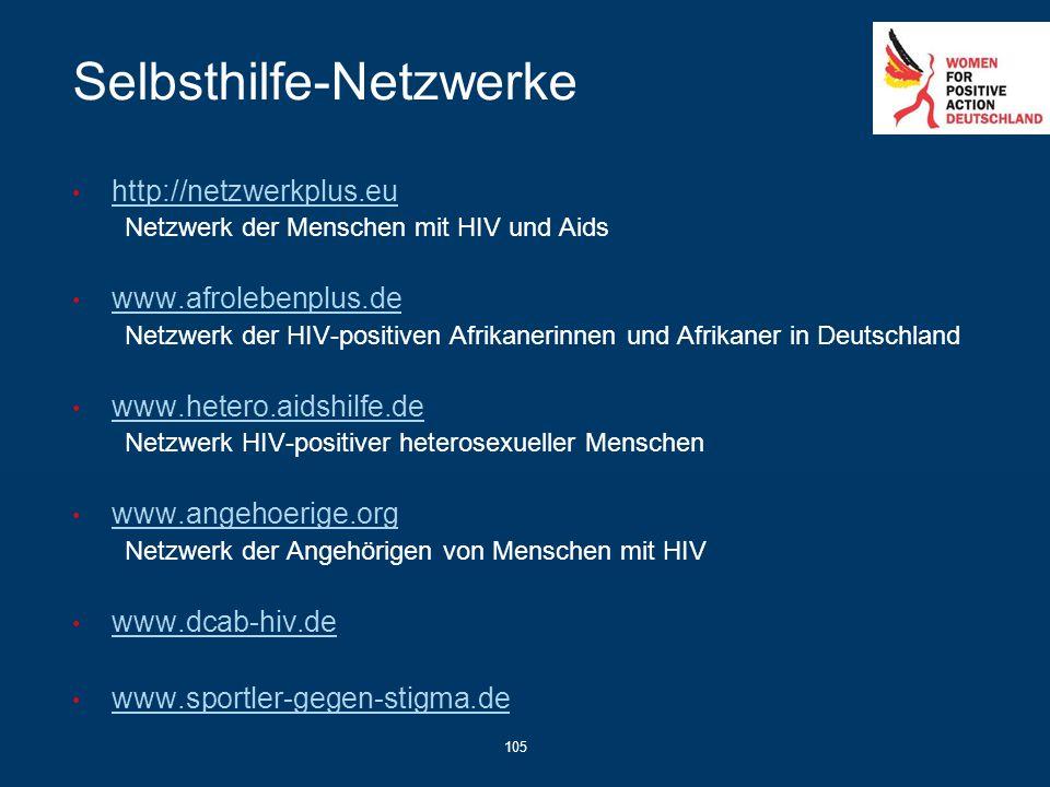 105 Selbsthilfe-Netzwerke http://netzwerkplus.eu Netzwerk der Menschen mit HIV und Aids www.afrolebenplus.de Netzwerk der HIV-positiven Afrikanerinnen