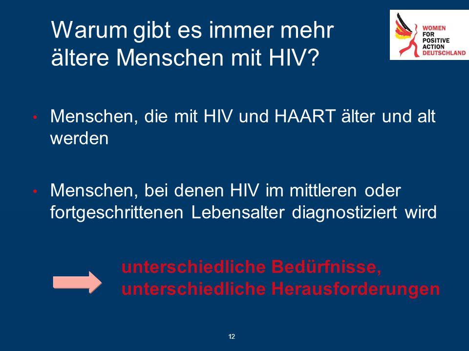 12 Warum gibt es immer mehr ältere Menschen mit HIV? Menschen, die mit HIV und HAART älter und alt werden Menschen, bei denen HIV im mittleren oder fo