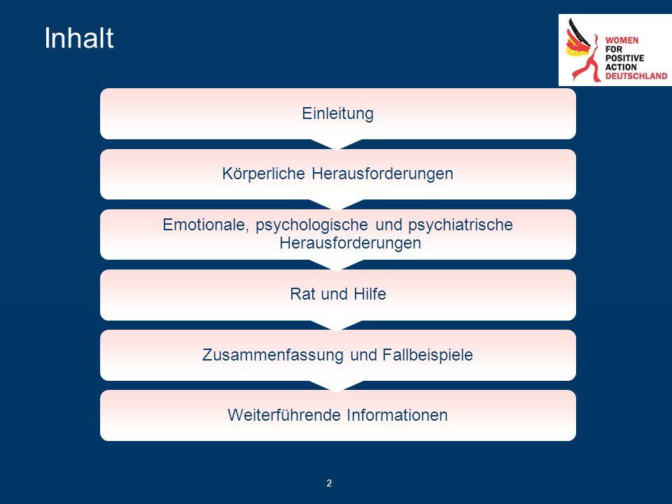 2 Inhalt Einleitung Körperliche Herausforderungen Emotionale, psychologische und psychiatrische Herausforderungen Rat und Hilfe Zusammenfassung und Fa