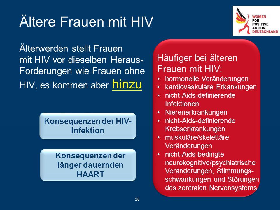 20 Ältere Frauen mit HIV Älterwerden stellt Frauen mit HIV vor dieselben Heraus- Forderungen wie Frauen ohne HIV, es kommen aber hinzu Häufiger bei äl