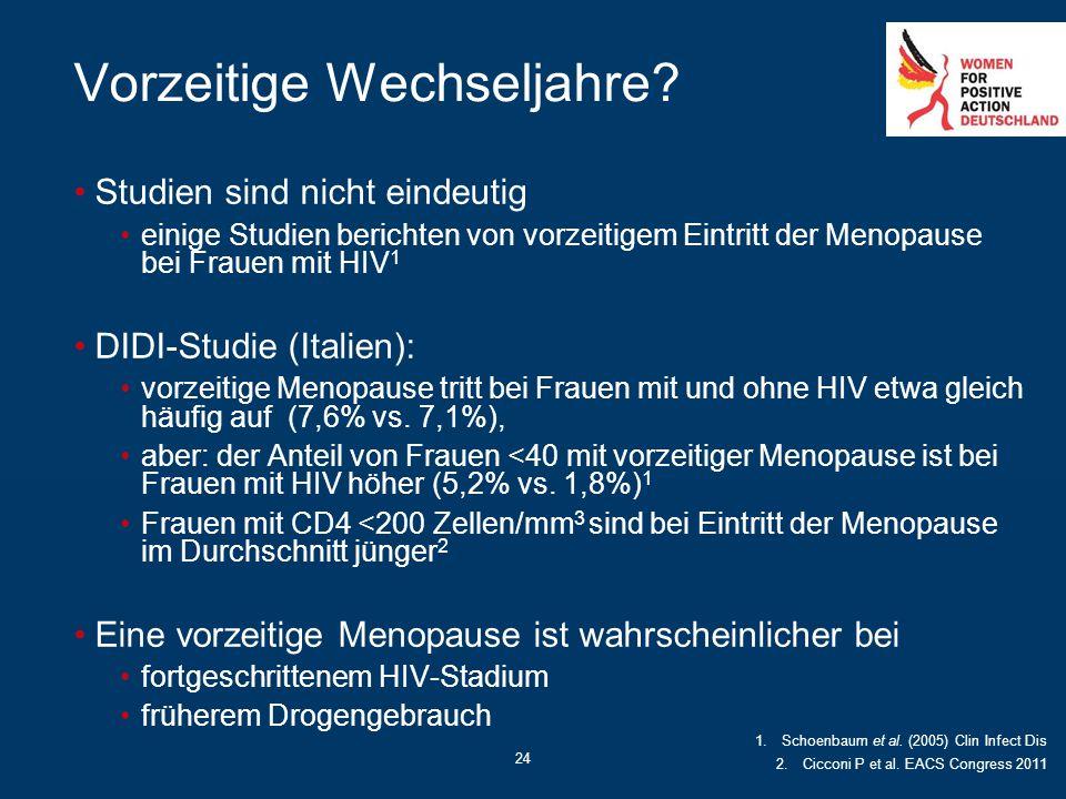 24 Vorzeitige Wechseljahre? Studien sind nicht eindeutig einige Studien berichten von vorzeitigem Eintritt der Menopause bei Frauen mit HIV 1 DIDI-Stu