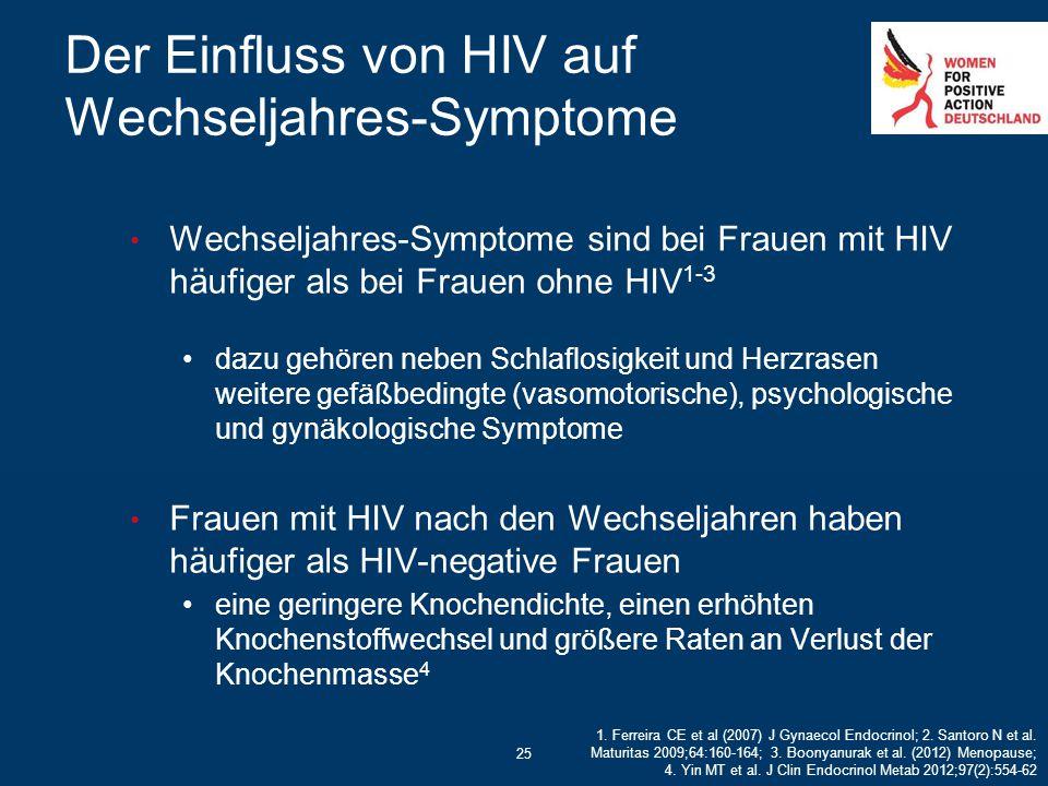 Der Einfluss von HIV auf Wechseljahres-Symptome 25 Wechseljahres-Symptome sind bei Frauen mit HIV häufiger als bei Frauen ohne HIV 1-3 dazu gehören ne