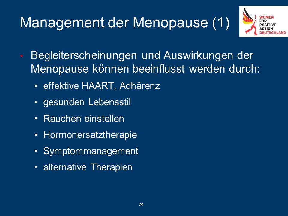 29 Management der Menopause (1) Begleiterscheinungen und Auswirkungen der Menopause können beeinflusst werden durch: effektive HAART, Adhärenz gesunde