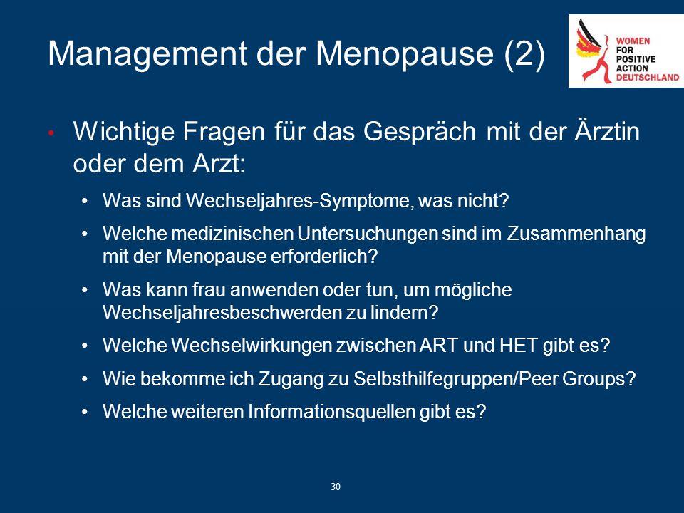 30 Management der Menopause (2) Wichtige Fragen für das Gespräch mit der Ärztin oder dem Arzt: Was sind Wechseljahres-Symptome, was nicht? Welche medi