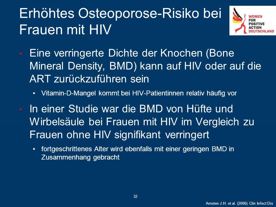 32 Erhöhtes Osteoporose-Risiko bei Frauen mit HIV Eine verringerte Dichte der Knochen (Bone Mineral Density, BMD) kann auf HIV oder auf die ART zurück