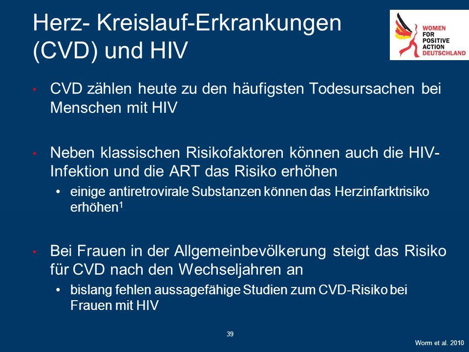 39 Herz- Kreislauf-Erkrankungen (CVD) und HIV CVD zählen heute zu den häufigsten Todesursachen bei Menschen mit HIV Neben klassischen Risikofaktoren k