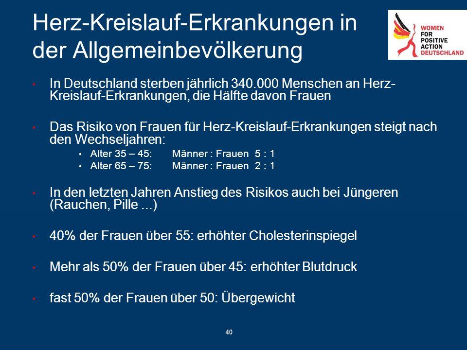 40 Herz-Kreislauf-Erkrankungen in der Allgemeinbevölkerung In Deutschland sterben jährlich 340.000 Menschen an Herz- Kreislauf-Erkrankungen, die Hälft