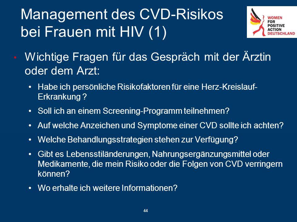 44 Management des CVD-Risikos bei Frauen mit HIV (1) Wichtige Fragen für das Gespräch mit der Ärztin oder dem Arzt: Habe ich persönliche Risikofaktore