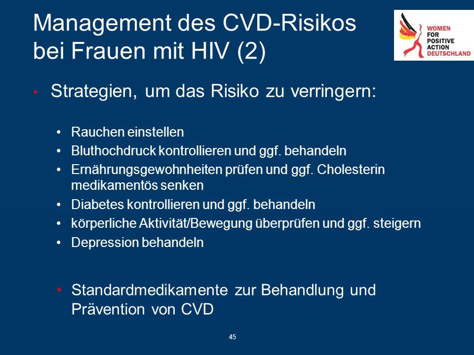 45 Management des CVD-Risikos bei Frauen mit HIV (2) Strategien, um das Risiko zu verringern: Rauchen einstellen Bluthochdruck kontrollieren und ggf.