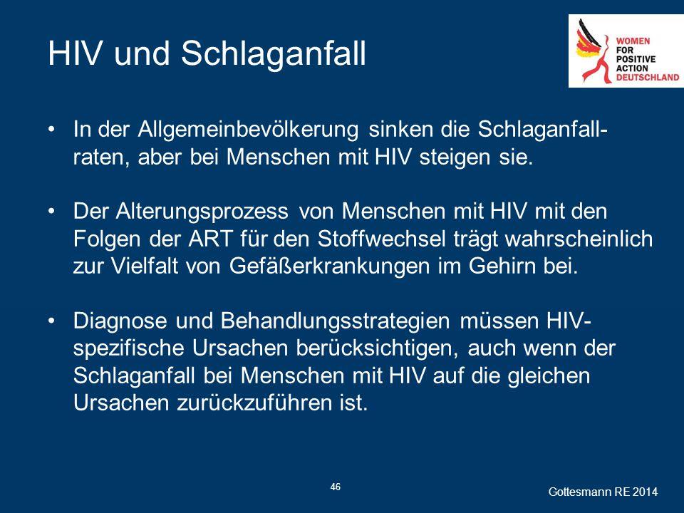 46 HIV und Schlaganfall In der Allgemeinbevölkerung sinken die Schlaganfall- raten, aber bei Menschen mit HIV steigen sie. Der Alterungsprozess von Me