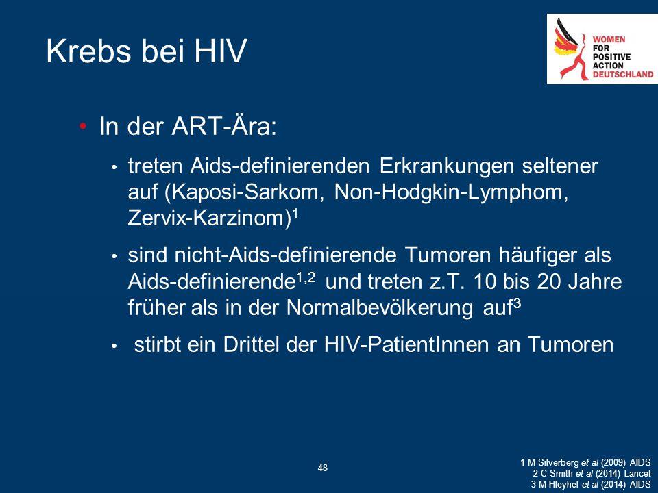 48 Krebs bei HIV In der ART-Ära: treten Aids-definierenden Erkrankungen seltener auf (Kaposi-Sarkom, Non-Hodgkin-Lymphom, Zervix-Karzinom) 1 sind nich