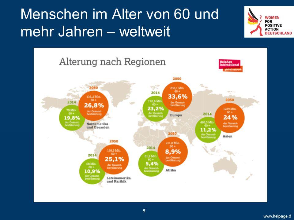 Menschen im Alter von 60 und mehr Jahren – weltweit www.helpage.d e 5