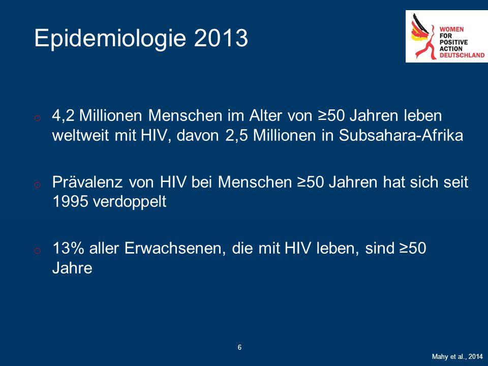 6 Epidemiologie 2013 o 4,2 Millionen Menschen im Alter von ≥50 Jahren leben weltweit mit HIV, davon 2,5 Millionen in Subsahara-Afrika o Prävalenz von